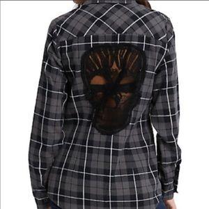 Hot Topic Grey Skull Plaid Girls Woven Flannel XXL